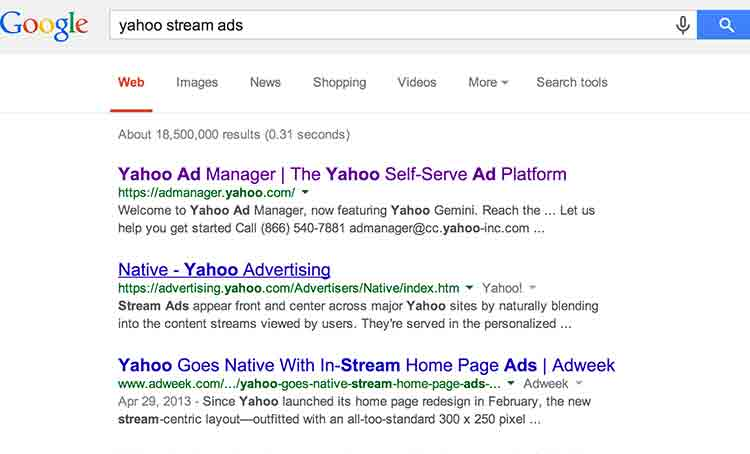 Google results of searching term yahoo stream ads