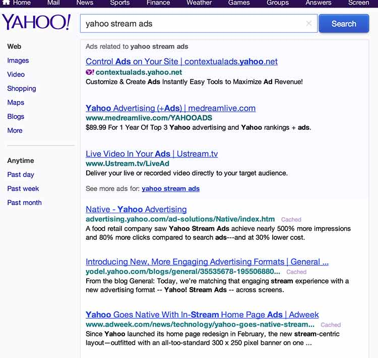 search engine results of using yahoo to search for term yahoo stream ads