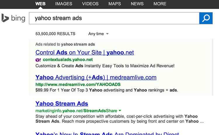 Bing results from searching term Yahoo stream ads